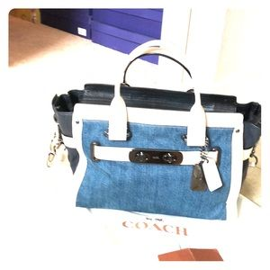 Beautiful Coach denim and leather bag
